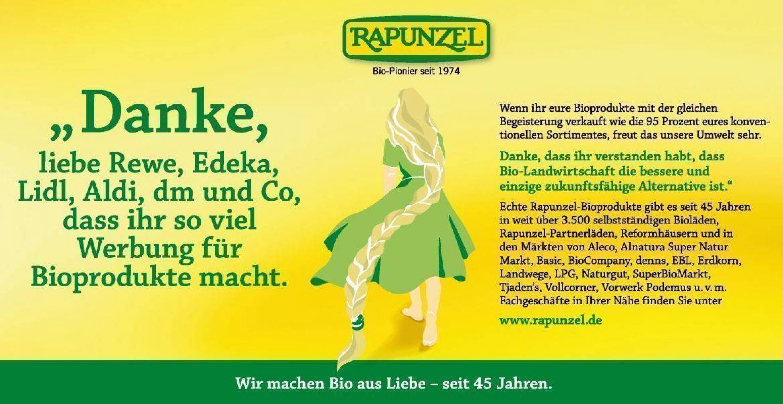 Bio-Marke Rapunzel bedankt sich bei Rewe und Co. für den Hype um ökologische Produkte