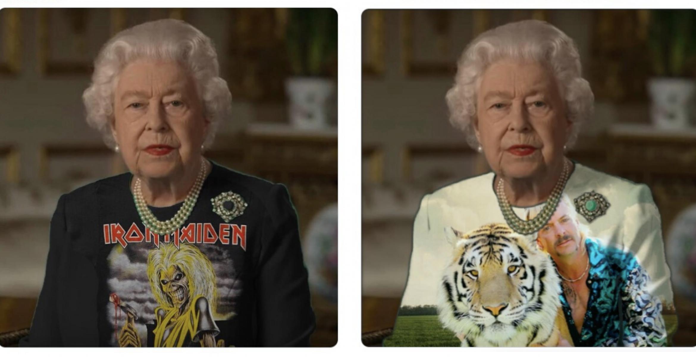 Die Queen trug bei ihrer Ansprache ein grünes Oberteil – Photoshop-Twitter reagiert