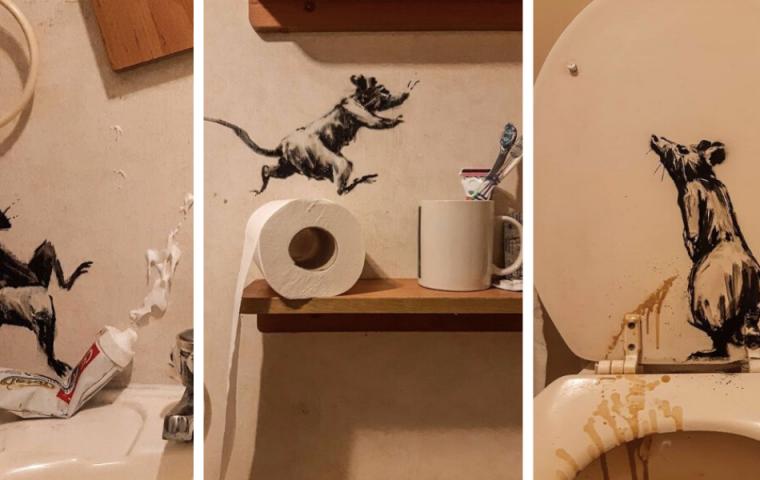 Banksy zeigt mit neuem Werk, wie Streetart in der Homeoffice-Edition aussieht