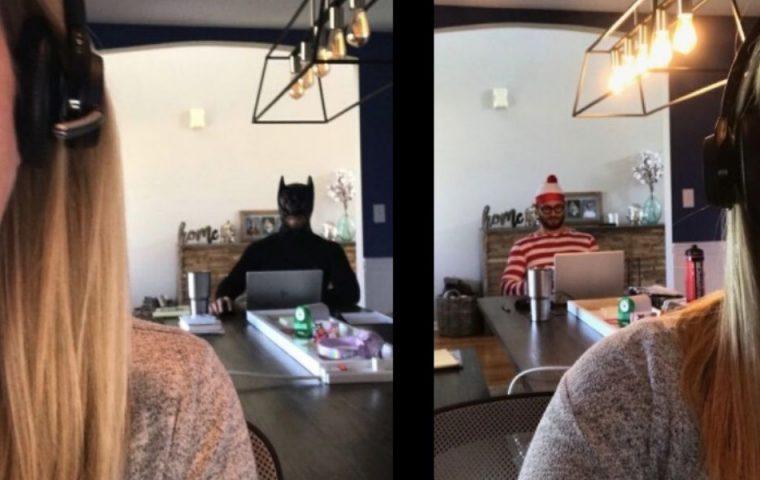 Couple-Goals? Mann schleicht sich kostümiert in die Videocalls seiner Frau