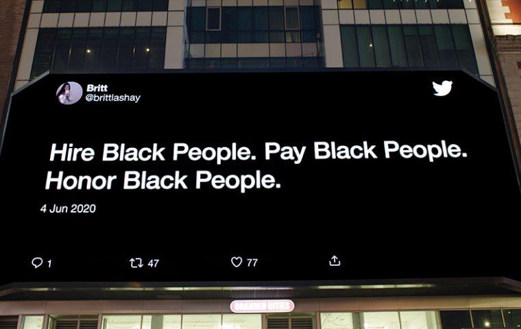 Twitter veröffentlicht Billboards über Rassenungleichheit in Städten, die Protestzentren waren