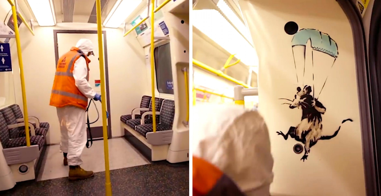 """""""Wenn du keine Maske trägst, kapierst du es nicht"""" – Banksy sprüht in einer U-Bahn"""