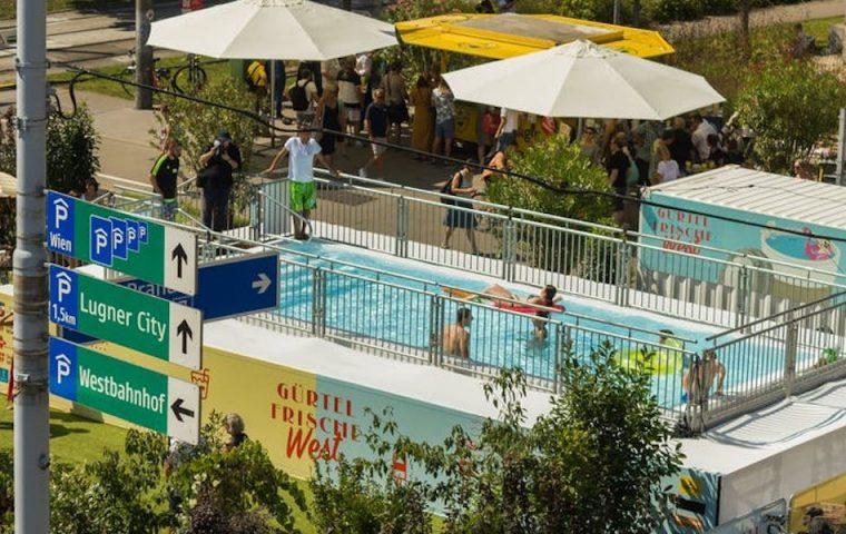 Baden, wo sonst Autos über den Beton brettern: In Wien gibt es jetzt einen Pop-up-Pool