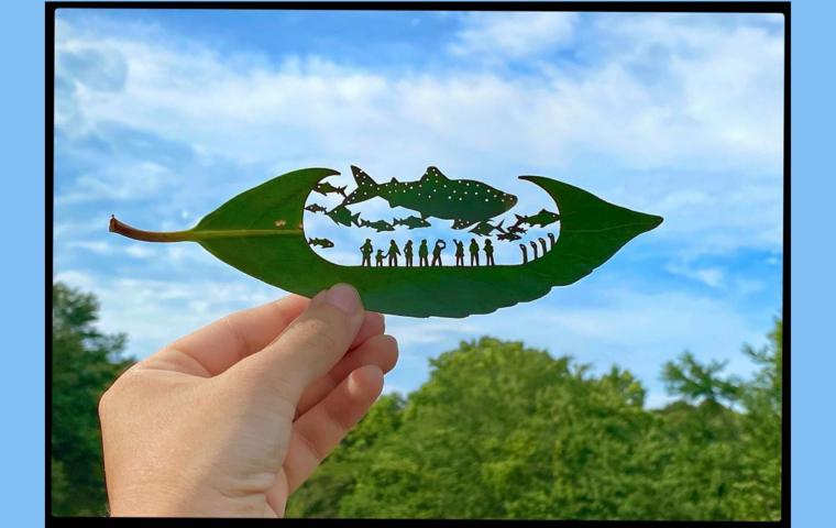 Japanischer Schnittkünstler verwandelt Baumblätter in Kunstwerke