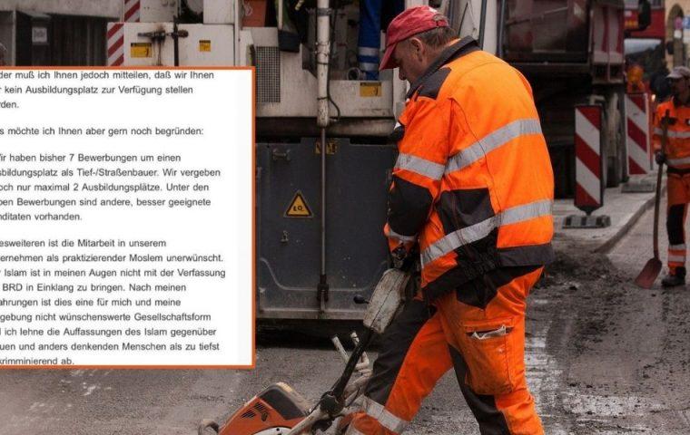 Weil er Muslim ist: Straßenbaufirma lehnt Azubi mit empörendem Schreiben ab