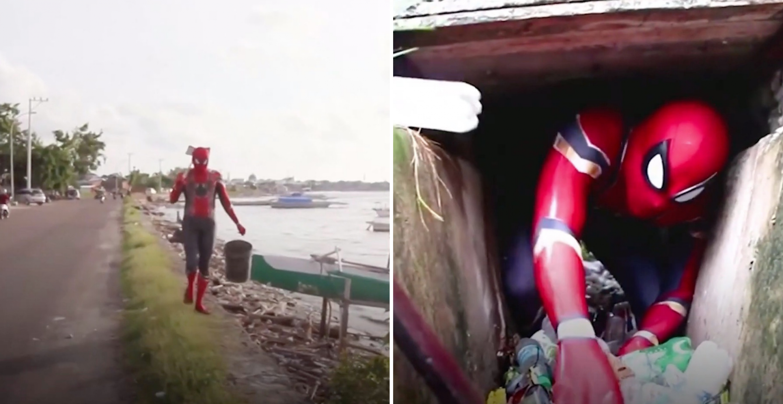 Superheld des Alltags: Mann in Spiderman-Kostüm räumt indonesische Strände auf