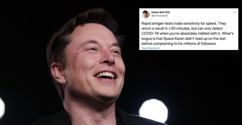 Elon Musk beschwert sich über Covid-19-Tests und wird von Expertin zusammengestaucht