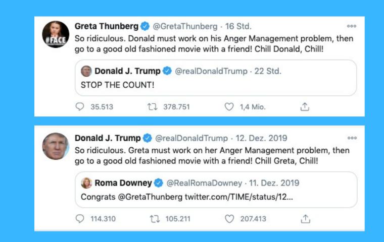 """Stop The Count!"" – Greta Thunberg kontert grandios auf Trumps Twitter-Rage"