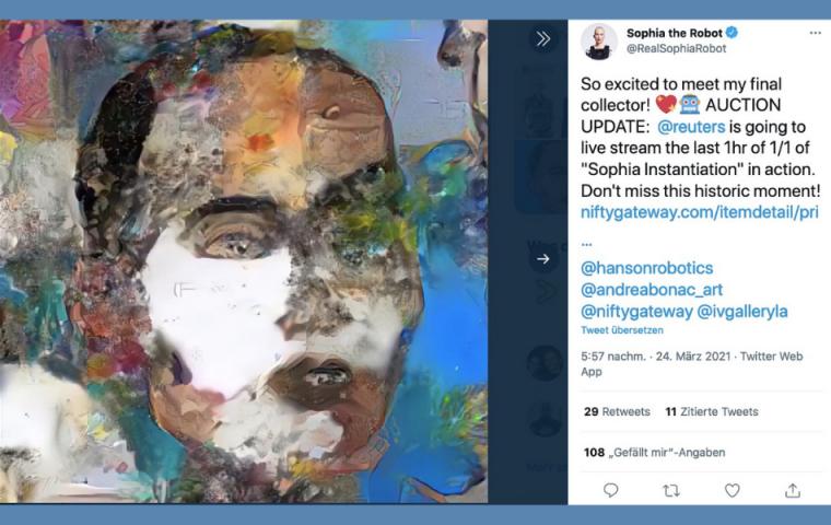 Dieser Roboter hat ein Porträt von sich gemalt und es für 700 000 US-Dollar versteigert
