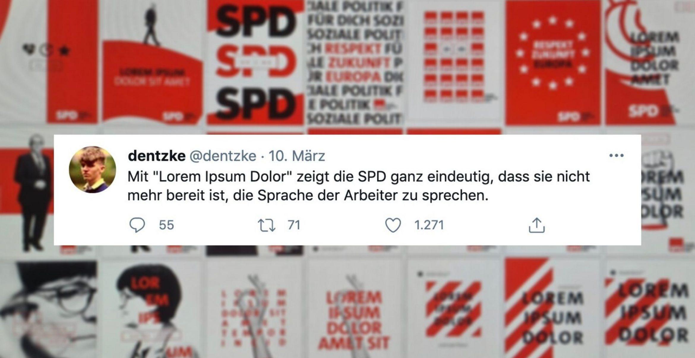 SPD zeigt erste Plakatentwürfe und geht wegen Platzhaltertext viral