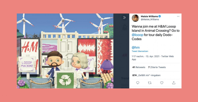Game of Thrones-Star wirbt in Animal Crossing für recycelte Mode von H&M