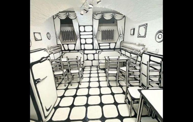 In Russland gibt es ein Café, das mit optischer Illusion besticht