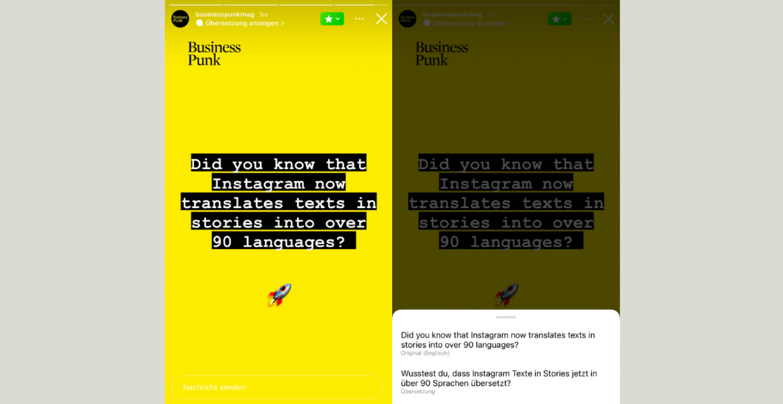 Instagram kann jetzt Texte in Stories in über 90 Sprachen übersetzen
